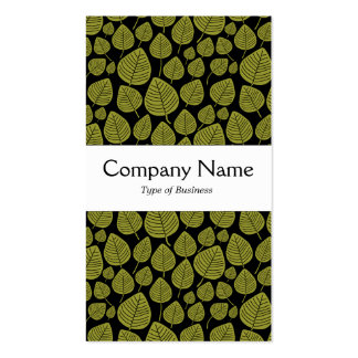 Center Band - Leaves - Olive on Black Double-Sided Standard Business Cards (Pack Of 100)