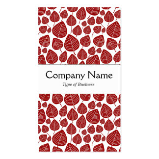Center Band - Leaves - Ruby on White Double-Sided Standard Business Cards (Pack Of 100)