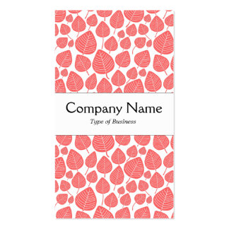 Center Band - Leaves - Tropical Pink on White Double-Sided Standard Business Cards (Pack Of 100)