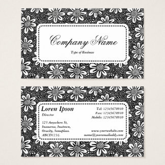 Center Label v5 - Flower Pattern 140617 - Black Business Card