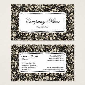 Center Label v5 - Pattern 140617 - Black and Beige Business Card