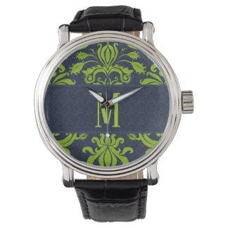 Center Monogoram in Green with Navy Blue Damask Watch