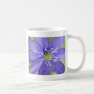 Center of a blue flower with white stamps basic white mug