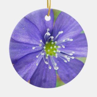 Center of a blue flower with white stamps round ceramic decoration