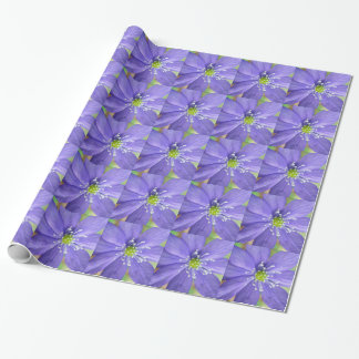 Center of a blue flower with white stamps wrapping paper