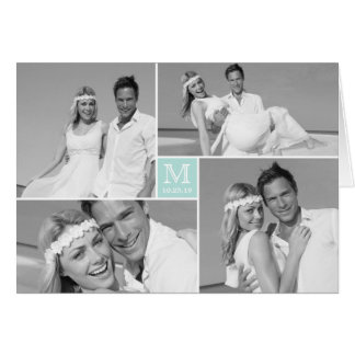 Center Square Monogram Wedding Thank You Photo Greeting Card