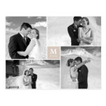 Center Square Monogram Wedding Thank You Photo Post Card