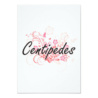 Centipedes with flowers background 13 cm x 18 cm invitation card