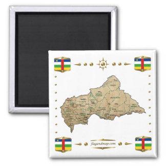 Centrafrique Map + Flags Magnet
