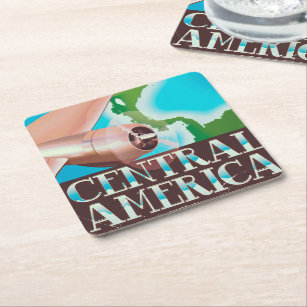 Central America vintage flight poster Square Paper Coaster