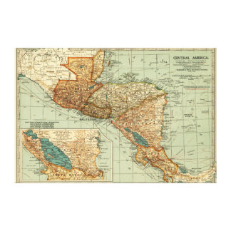 Central AmericaPanoramic MapCentral America 2 Canvas Print