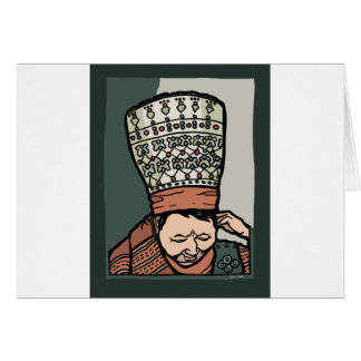 Central Asian Woman Thinking (in hat) Card