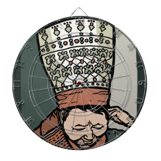 Central Asian Woman Thinking (in hat) Dart Board