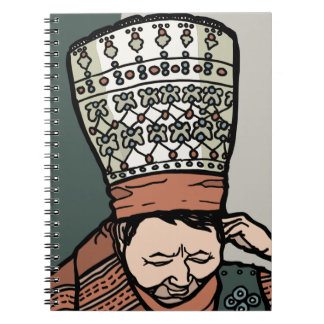 Central Asian Woman Thinking (in hat) Spiral Notebook