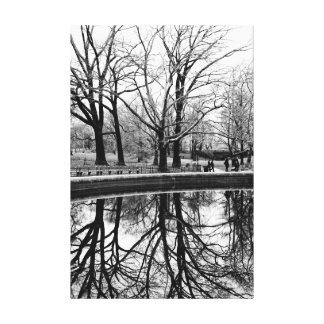 Central Park Black and White Landscape Photo Gallery Wrapped Canvas