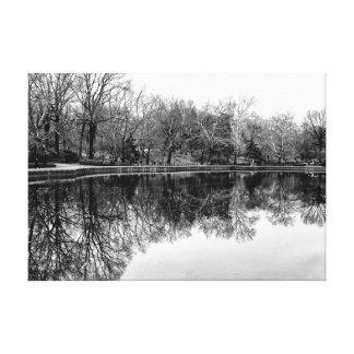 Central Park Black and White Landscape Photo Stretched Canvas Print