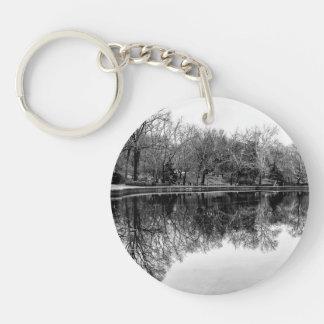 Central Park Black and White Landscape Photo Key Chains