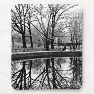 Central Park Black and White Landscape Photo Mousepads