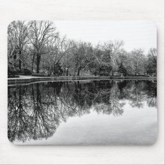 Central Park Black and White Landscape Photo Mousepad
