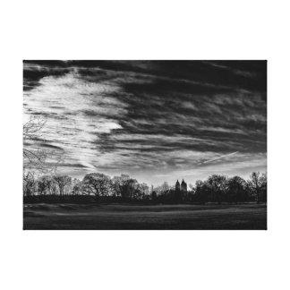 Central Park Black & White Landscape Photo Canvas Print