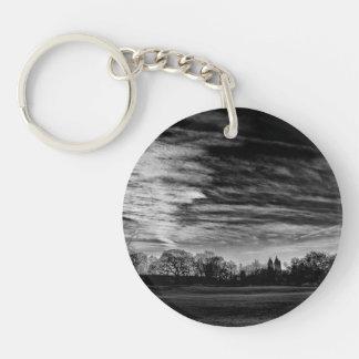 Central Park Black White Landscape Photo Keychain
