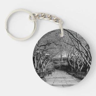 Central Park Black & White Landscape Photo Acrylic Keychain