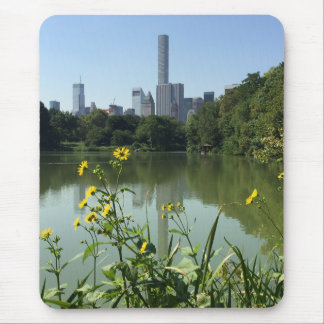 Central Park Lake New York City NYC Skyline Flower Mouse Pad