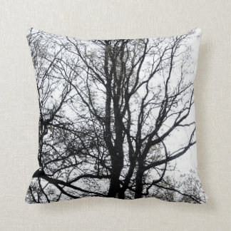 Central Park late autumn almost Barren Tree B&W Cushion