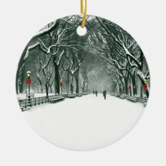 Central Park Snowy Path Round Ceramic Decoration