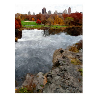 Central Park Watercolor Postcard