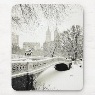 Central Park Winter - Snow on Bow Bridge Mousepads