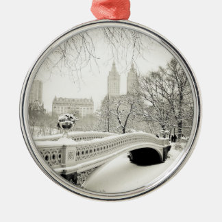 Central Park Winter - Snow on Bow Bridge Silver-Colored Round Decoration