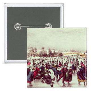 Central Park, Winter: The Skating Carnival 15 Cm Square Badge