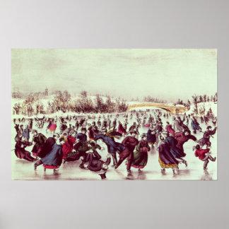 Central Park, Winter: The Skating Carnival Poster