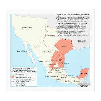 Centralist Republic of Mexico Territorial Map Canvas Prints