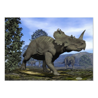 Centrosaurus dinosaurs walking among magnolia tree card