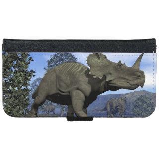 Centrosaurus dinosaurs walking among magnolia tree iPhone 6 wallet case