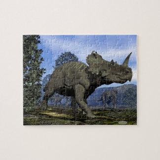 Centrosaurus dinosaurs walking among magnolia tree jigsaw puzzle
