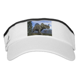 Centrosaurus dinosaurs walking among magnolia tree visor