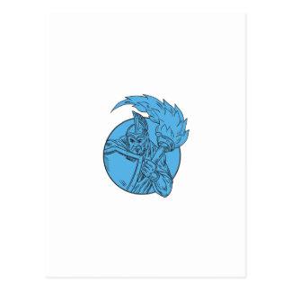 Centurion Soldier Torch Circle Drawing Postcard