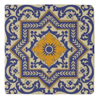 Ceramic Azulejo Style Blue Orange Trivet