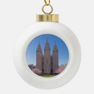 Ceramic ball ornament with Salt Lake Temple