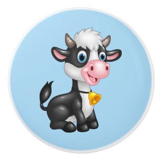 Ceramic Cabinet Knob-Baby Bull Cow Ceramic Knob