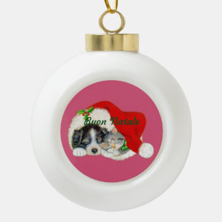 Ceramic Christmas Ornament Puppy and Kitten