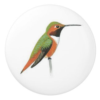 Ceramic Door knob with a Hummingbird