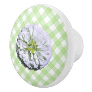 Ceramic Drawer/Door Pull - Lemony White Zinnia