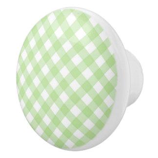 Ceramic Drawer/Door Pull - Spring Green Lattice