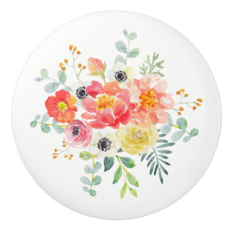 Ceramic Drawer Pull - Watercolor Flower Bouquet