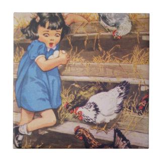 Ceramic Kitchen Tile-Girl with Chicken Eggs
