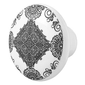 Ceramic Knob Beautiful Black and White Design